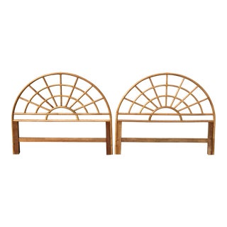 1960s Boho Chic Bamboo Rattan Arched Queen Size Headboards - a Pair For Sale