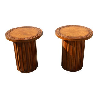 Mid-Century Burl Wood Round Cylindrical Side Tables - a Pair For Sale