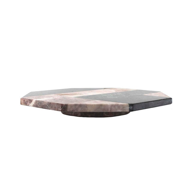 80s Post-Modern mixed marble octagonal lazy susan in as-new condition.