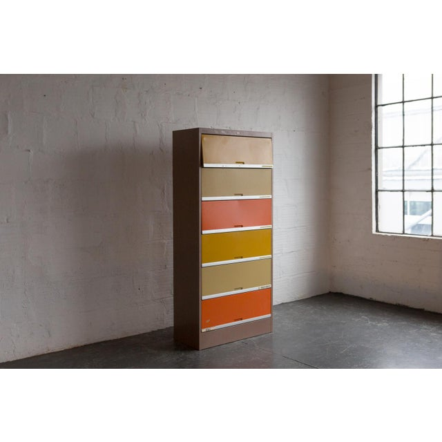 Mid-Century Modern Vintage Orange & Yellow Steel Tab Office Cabinets For Sale - Image 3 of 7