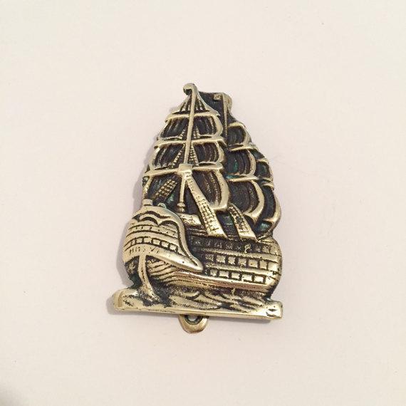 Brass Nautical Ship Door Knocker For Sale - Image 4 of 6