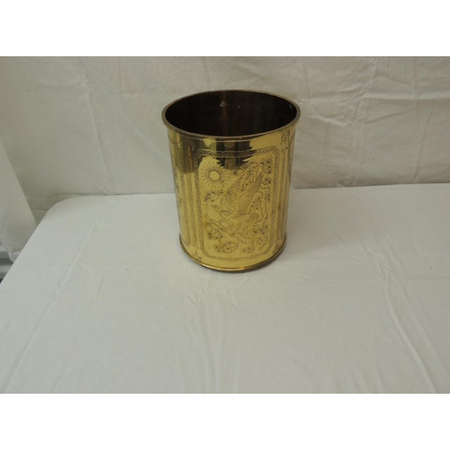 1980s Vintage Polished Brass Asian Wastebasket Depicting Birds Flowers and Bamboo For Sale - Image 5 of 5