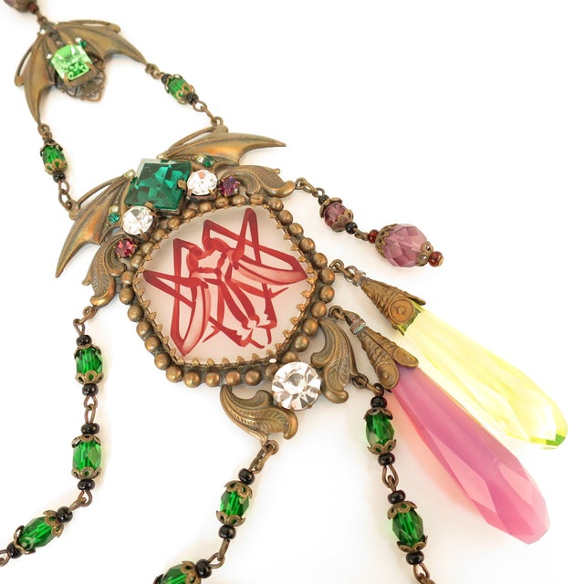 Metal Massive Czech Art Deco Egyptian Revival Painted Glass & Crystal Necklace 1920s For Sale - Image 7 of 12