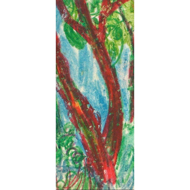 This circa 1960 oil pastel on paper landscape with trees in a forest is by New York/San Francisco Abstract Expressionist...