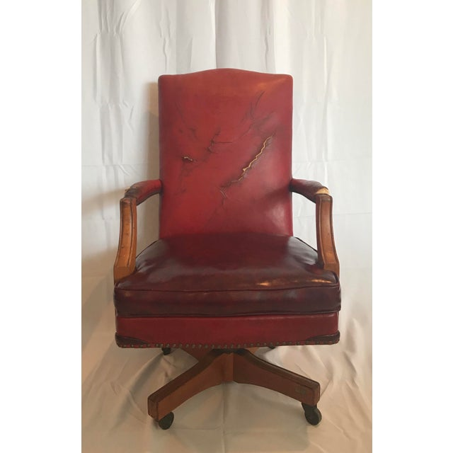 Vintage Mid Century B L Marble Company Illinois House of Representatives Leather Lawyer Judge Chair For Sale - Image 13 of 13