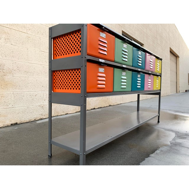 Industrial Custom Made 5 X 2 Locker Basket Unit With Multicolored Drawers and Shelf For Sale - Image 3 of 9