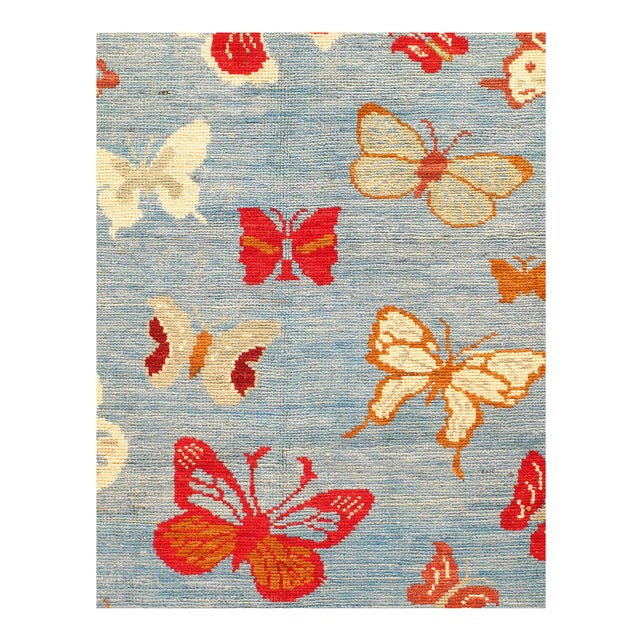 Modern Butterfly Kaleidoscope Rug Hand made nd Hand-knotted, Wool on Cotton Foundation, This rug is vegetable dyed