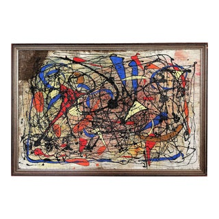 Andrea Bonora Abstract Painting in the Manner of Joan Miro For Sale