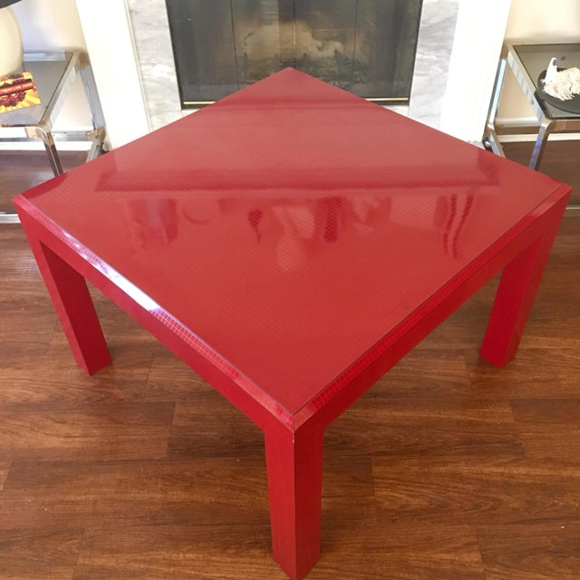 1980s Postmodern Red Occasional Table With Graph Pattern For Sale - Image 5 of 9