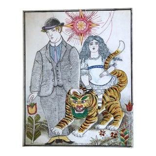 Vintage Folk Art Drawing, Girl on a Tiger For Sale