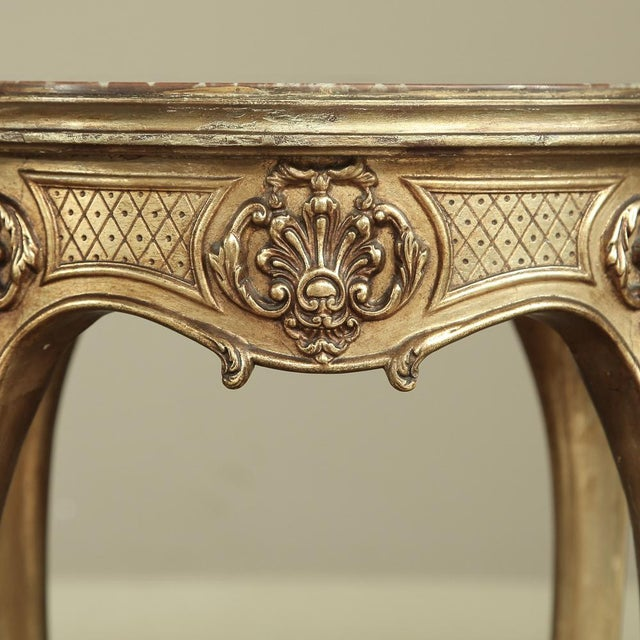 Gold 19th Century French Giltwood Marble-Top Lamp Table For Sale - Image 8 of 11