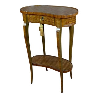 19th Century French Parquetry Inlaid Kidney Table