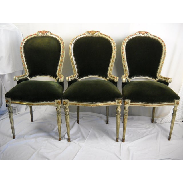 French French Painted Gilt Dining Chairs - Set of 6 For Sale - Image 3 of 11