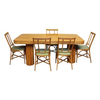 Vintage 1950s Mid-Century Modern Bamboo & Rattan Dining Set For Sale