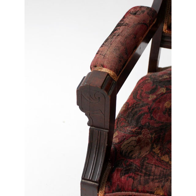 Antique Upholstered Arm Chair For Sale - Image 10 of 11