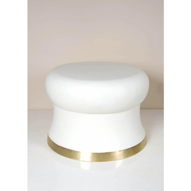 Contemporary Dian Drumstool with Brass Trim For Sale - Image 3 of 4