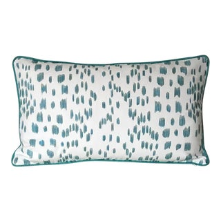 Contemporary Brunschwig and Fils Les Touches Animal Print in Aqua Designer Pillow Cover\ For Sale