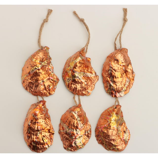 Flame Gilded Oyster Shell Christmas Ornaments - Set of 6 For Sale - Image 9 of 9