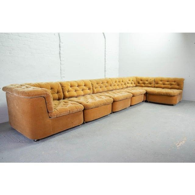 Mid-Century Modern Mid-Century Design Peach Velvet Modular Lounge Sofaset, 6 Elements, Dreipunkt, Germany, 1970s For Sale - Image 3 of 11