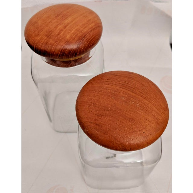 Wood Danish Modern Teak Lidded Storage Jars, Set of 2 For Sale - Image 7 of 8