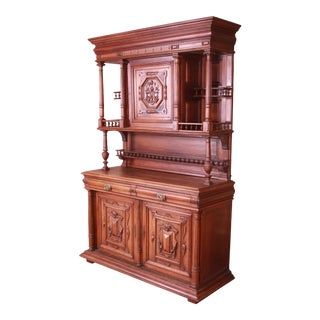 19th Century French Renaissance Carved Walnut Sideboard or Bar Cabinet For Sale