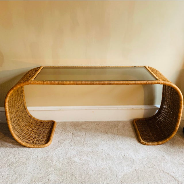 1970s Vintage Rattan Scroll Console Table For Sale - Image 5 of 10