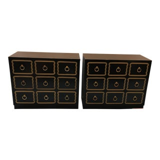 Pair of Dorothy Draper Black Lacquer Chests For Sale
