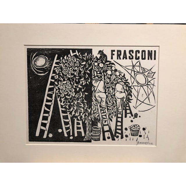 """Drawing/Sketching Materials 1952 Woodcut """"Day and Night"""" Antonio Frasconi For Sale - Image 7 of 7"""
