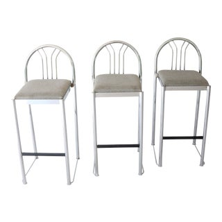 1980's Italian Postmodern Chrome Bar Stools - Set of 3 For Sale