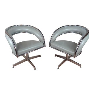 Mid Century Chrome & Leather Round Office Chairs -A Pair For Sale