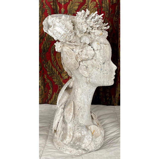 "Hollywood Regency 1990s ""Sea Queen"" Woman Bust Sea Shell Sculpture For Sale - Image 3 of 11"