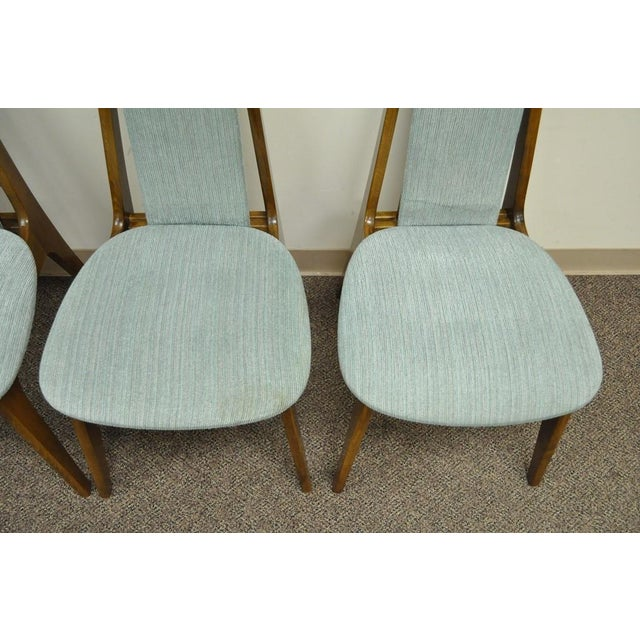 Set of 4 Vintage Mid Century Modern Sculptural Walnut Dining Chairs Danish Style For Sale In Philadelphia - Image 6 of 11