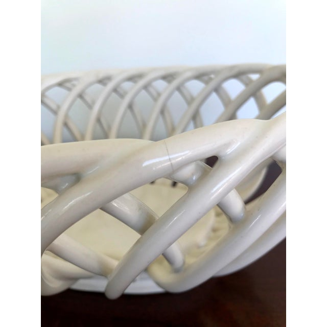 White Mid 20th Century White Ceramic Open Weave Nesting Bowl Set - a Pair For Sale - Image 8 of 9
