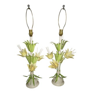 1960s Mid-Century Modern Tole Lilies Table Lamps - a Pair