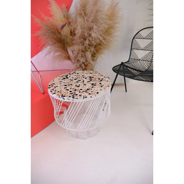 Contemporary Indoor/Outdoor Terrazzo Table in White For Sale - Image 4 of 9