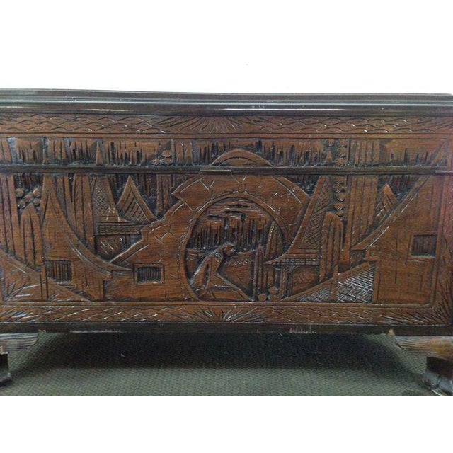 Chinese Carved Teak & Camphor Wood Chest - Image 11 of 11