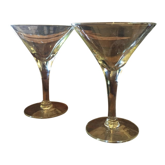 Mid-Century Modern Glass Martini Glasses - A Pair - Image 1 of 4