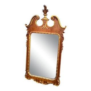 Davis Co. Vintage Federal Style Burl Wood and Gilt Mirror For Sale