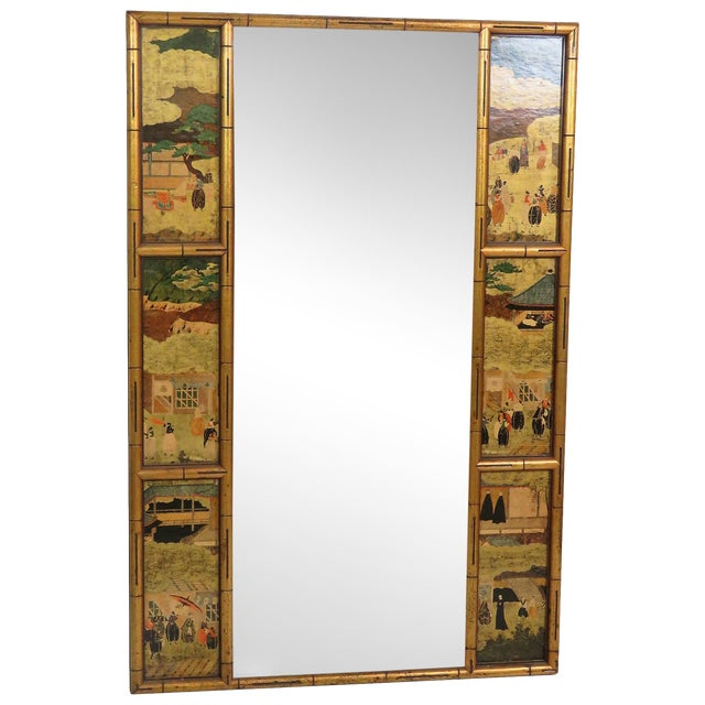 Asian style faux bamboo mirror chairish for Asian style mirror