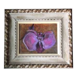 Original Contemporary Purple Orchid Impressionist Painting Vintage Frame For Sale