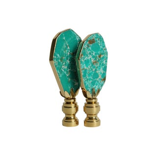 Gilded Turquoise Jasper Lamp Finials - A Pair For Sale