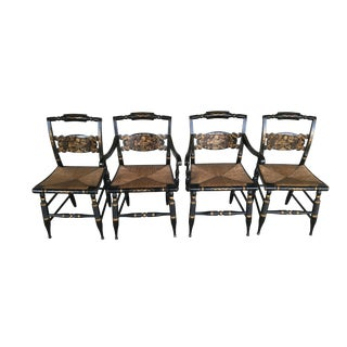 L. Hitchcock Turtle Back Rush Bottom Dining Chairs - Set of 4 For Sale