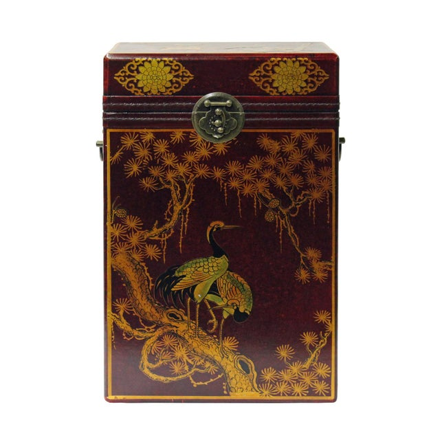 Chinese Red Leather Crane & Pine Motif Gift Box Set - 3 Pieces - Image 3 of 6