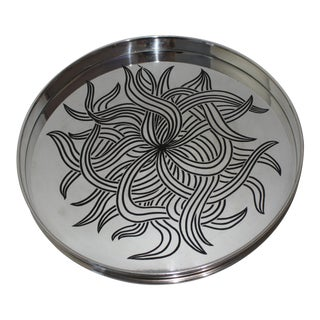 "Silver Plate and Etched Black Formica 12"" Round Tray 1960s For Sale"