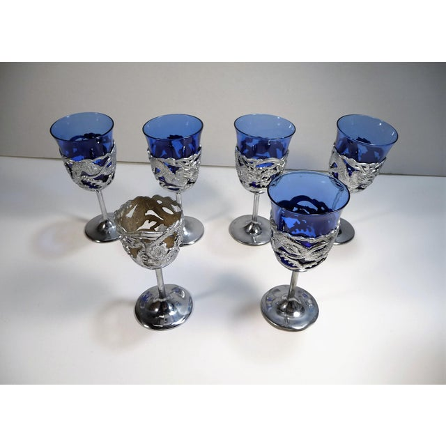 Vintage Asian Dragon Theme Chrome Tray With Matching Cobalt Cordial Glasses - Set of 7 For Sale In New Orleans - Image 6 of 11