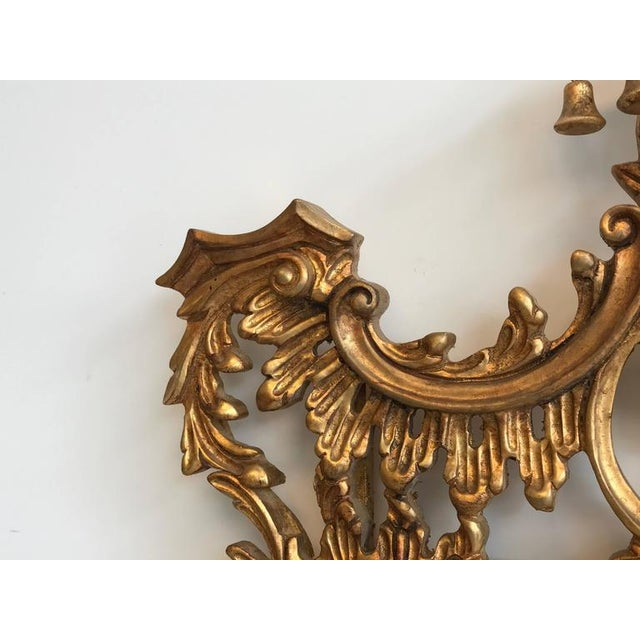 Chinoiserie Temple Bells Carved Wood Mirror - Image 5 of 9