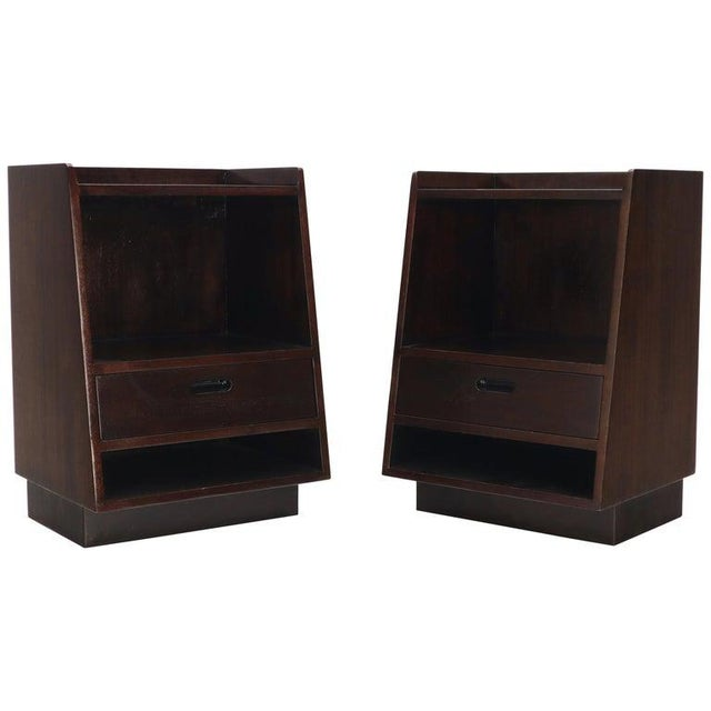 Pair of Edward Wormley for Dunbar Dark Chocolate End Tables Nightstands For Sale - Image 13 of 13