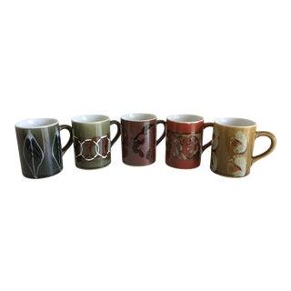 1960s Vintage Earthtone Coffee Mugs - Set of 5 For Sale