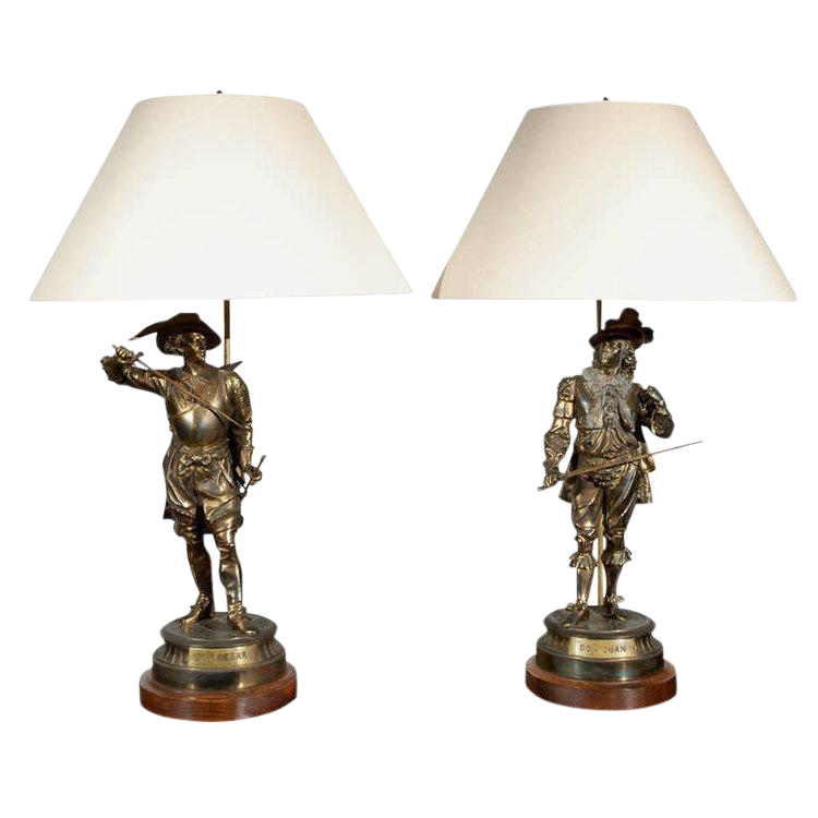Antique Cavalier Table Lamps   A Pair   Image 1 Of 9