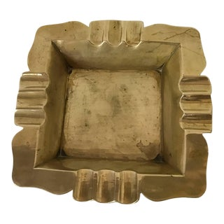 Vintage Art Deco Hollywood Regency Square Brass Ashtray For Sale